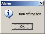 An informational popup window saying Turn off the hob
